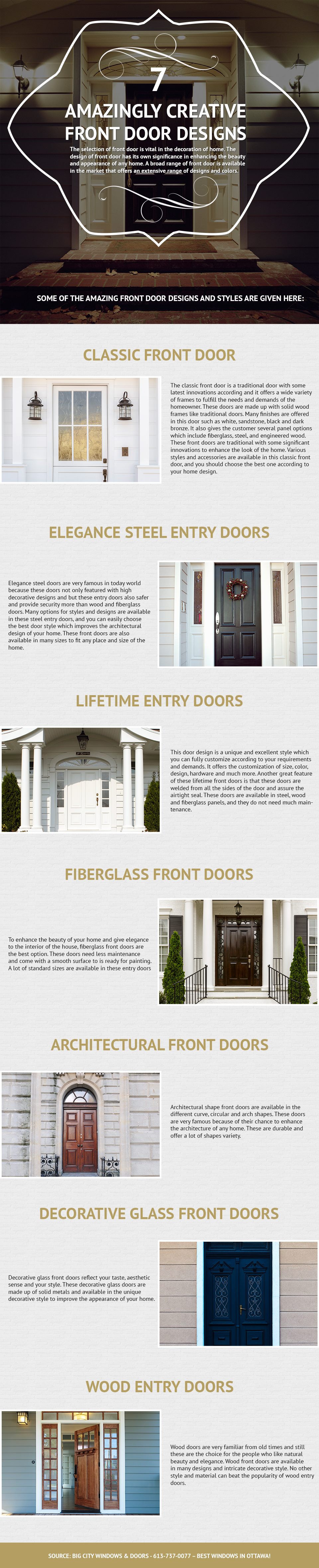 7 Amazingly Creative Front Door Designs - Big City Windows Infographic